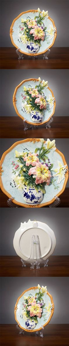 Creative handmade painted emboss lily flower vase decorative hanging plate ceramic wall plate modern home decoration ornaments $59