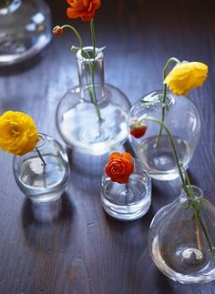 flowers in tiny vase