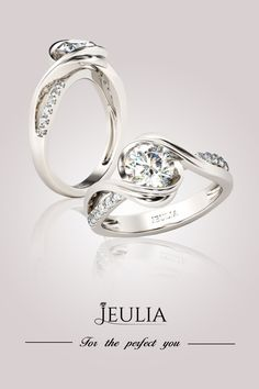 Jeulia Bypass Round Cut Created White Sapphire Engagement Ring. For The Perfect You! #Engagement#Jewelry#Rings
