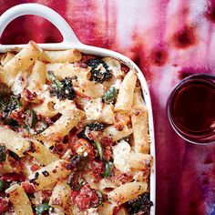 Baked Rigatoni with Broccoli, Green Olives and Pancetta Instead of using tomato sauce, Hugh Acheson makes his version of baked ziti with intensely sweet roasted tomatoes. Baked Pasta Dishes, Baked Pasta Recipes, Quinoa Dishes, Noodle Recipes, Tomato Relish, Tomato Sauce, Wine Recipes, Cooking Recipes, Nytimes Recipes