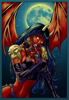 Purgatori by WaldenWong by Logna on DeviantArt Demon Art, Fantasy Demon, Dark Fantasy Art, Fantasy Artwork, Dark Art, Fantasy Art Women, Fantasy Girl, Fantasy Character Design, Character Art