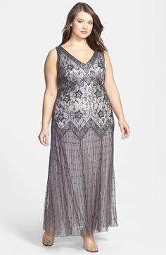 BEST SELLER! 1920's or Downton Abbey Dress - Pisarro Nights Beaded Mesh Dress (Plus) $142.80