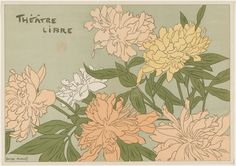 Programme for the Théâtre Libre (Chrysanthemums), 1889 Auriol, George Colour lithograph Sheet: × 32 cm × 12 in. Botanical Drawings, Botanical Illustration, Botanical Prints, Fleurs Art Nouveau, Art Nouveau Flowers, Vincent Van Gogh, Illustration Botanique, Foundation, Fine Art Prints