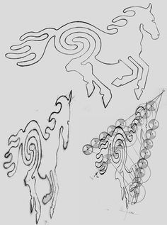 Desert Horse Geoglyph of Aus sketches and grid of the requisite distortions to accommodate a 153 metre elevation at a distance of 603 metres. Design by Anni Snyman. Earth Drawings, Nature Artwork, Distance, Grid, Art Projects, How To Find Out, June, Horse, Sketches