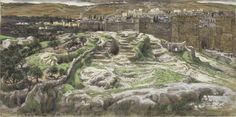 Google Image Result for http://www.joyfulheart.com/easter/images-tissot/tissot-reconstruction-of-golgotha-and-the-holy-sepulchre-seen-from-the-walls-of-herods-palace-749x373.jpg