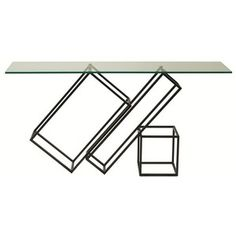 Rectangular glass console table