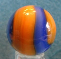 """Rare vintage Akro Agate """"Jolly Roger"""" marble, dug from the Akro factory site."""