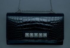 Valentino Noir crocodile purse