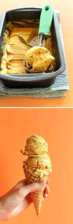 10 ingredient AMAZING, CREAMY Vegan Pumpkin PIE Ice Cream! #fall #vegan #glutenfree