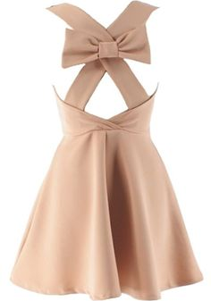 Bow Romancer Dress: Features a chic mesh yoke with illusion sweetheart neckline, bold criss-crossed straps to the back crowned with a beautiful bow-tie, and an amazing A-line skirt for an ultra romantic finish.