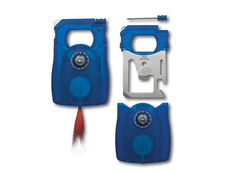 """TEK-TOOLNo larger than the size of a credit card Tek-Tool features eleven different functions! The tool is protected in its own blue hard plastic case. It measures approximately 3""""L x 2""""W x 1/4""""H and weighs about 5oz. • Compass• LED Light (Red)• Screwdriver• Slot Screwdriver• Butterfly Screw Wrench• Can Opener• Knife Edge• Ruler (Metric and English)• Bottle Opener• Socket Wrench• Magnifier"""