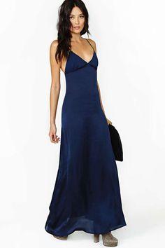 loving this dark blue color right now - Nasty Gal Night Calls Slip Dress