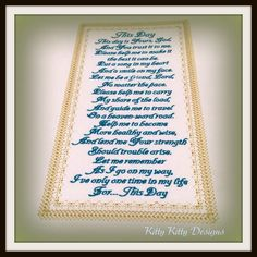 "A beautiful poem to remind you of ""This Day"" is the day you're only promised… Poems Beautiful, Machine Embroidery Projects, Chart, Pixies, Sewing, Day, Fabric, Stitching, Applique"