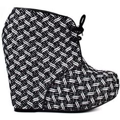 Black and White Wedge Ankle Bootie on Chiq http://www.chiq.com/black-and-white-wedge-ankle-bootie