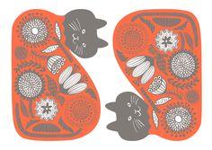 【Flower cat】#illust #textile #design #猫 #cat #イラスト #北欧デザイン #北欧イラスト #テキスタイル Surface Pattern Design, Textile Design, Cat Lovers, Cool Designs, Scenery, Illustration Art, Textiles, Kids Rugs, Cats