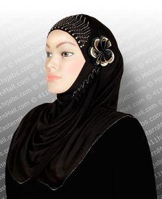 Islamic Hijab Lycra Muslim Amira One piece Reda Style Khimar in #5 Black #1pieceAmiraHijab