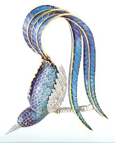 MELLERIO dits MELLER Brooch 1942 ~ During the Nazi occupation gemstone supplies were limited. This bird's blue plumage is plique-a-jour Enamel, which is backless and as transparent as a stained glass window. Bird Jewelry, Animal Jewelry, Jewelry Art, Antique Jewelry, Vintage Jewelry, Jewelry Accessories, Fashion Jewelry, Jewelry Design, Jewellery