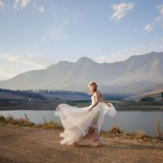 The dreamiest Watters wedding gown for a country casual farm wedding in South Africa. (Credit: Jani B.)