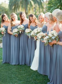 Slate blue bridesmaid dresses. #bridesmaiddresses leonardofilms.ca