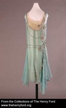 Evening Dress, 1928 Made by Peggy Hoyt for Elizabeth Parke Firestone Hoyt dressed a small, but exclusive clientele at her New York City salon. This dress showcases Hoyt's signature use of pastels, handkerchief hem and rhinestone ornaments. From the collections of The Henry Ford