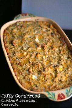Chicken & Dressing Casserole is an easy family favorite dinner that comes together quickly with chicken, cheese, and sweet Jiffy cornbread. Healthy Potato Recipes, Hot Dog Recipes, Casseroles Healthy, Jiffy Recipes, Pork Recipes, Jiffy Cornbread Recipes, Fast Recipes, Quick Casseroles, Hamburger Recipes