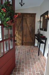 Wright's Ferry brick tile for porch floor. Thin brick flooring tile that looks antique and rustic. Online from Inglenook Brick Tiles. Entryway Flooring, Porch Flooring, Brick Flooring, Ceramic Flooring, Kitchen Flooring, Floors, Brick Tile Floor, Brick Pavers, Tiled Hallway