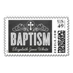 BAPTISM CUSTOM POSTAGE elegant swirls chalkboard