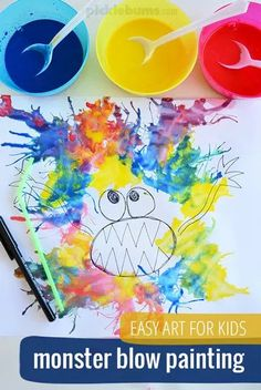 20 gorgeous kid art projects that are pretty enough to frame! Fun, easy ideas for crafting with kids. Easy Art Projects, Sewing Projects For Kids, Halloween Crafts For Kids, Fun Crafts For Kids, Halloween Party, Kids Art Easel, Blow Paint, Easy Art For Kids, Monster Crafts