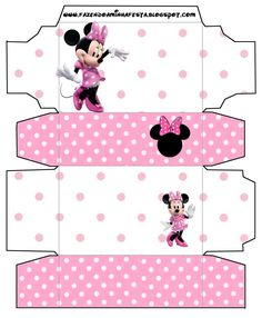 Minnie Rose Complete Kit - With frames for invitations, labels for goodies, souvenirs and pictures! Minnie Baby, Minnie Mouse Pink, Mickey Minnie Mouse, Minnie Mouse Cupcake Toppers, Diy Doll Miniatures, Diy Gift Box, Party Kit, Mickey And Friends, Craft Box