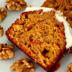 A delicious carrot and walnut cake with a zing of ginger for good measure! Sweets Recipes, Baking Recipes, Cake Recipes, Desserts, Muffin Recipes, Food Cakes, Cupcake Cakes, Bundt Cakes, Cupcakes