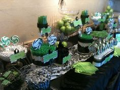 Green, black and white candy bar