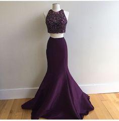 2017 Custom Charming Prom Dress,Two Pieces Prom Dress,Mermaid Prom Dress,Satin Prom Dress,Beading Evening Dress