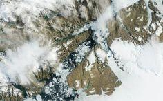 Imagem de satélite da Nasa mostra a rachadura na Geleira Petermann -Groelândia