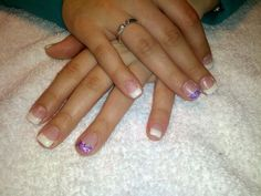 Gel nails white with purple sparkles!