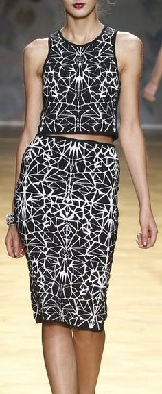 Love Black and White Patterns   Nicole Miller at NYFW Spring 2014
