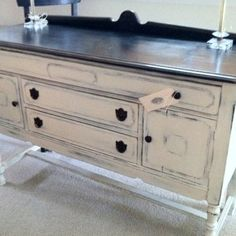 Vintage buffet, black & white distressed  www.facebook.com/thesilvernest484