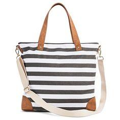 Women's Stripe Print Canvas Tote Handbag with Removeable Crossbody Strap - Merona™