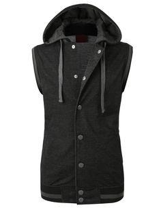 LE3NO Mens Casual Button Down Vest with Detachable Hoodie