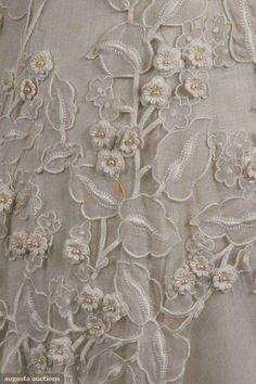 Detail of an antique wedding gown, circa 1920-49