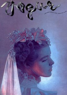 Vogue Cover by Cecil Beaton. The almost ribbon style logo makes this cover seem very feminine, in fitting with the cover stars clothing.