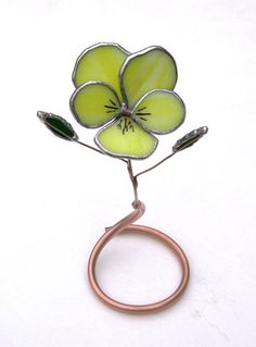 Pretty Little Pansy in Sunny Yellow Stained Glass - Industrial Flowers- sculpture