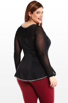 Fire Off My Flare Mesh Plus Size Top