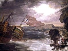 """""""The Wreck of the Grosvenor,"""" attributed to George Carter, National Maritime Museum (image is in the Public Domain). Battle Of The Nile, Francesco Guardi, Stormy Waters, St Clare's, Joseph Mallord William Turner, Caspar David Friedrich, Google Art Project, Winslow Homer, Hidden Treasures"""
