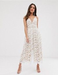 Shop the latest Love Triangle plunge front wide leg lace jumpsuit in white trends with ASOS! Free delivery and returns (Ts&Cs apply), order today! White Lace Jumpsuit, Embellished Jumpsuit, White Dress, Asos, Wedding Jumpsuit, Occasion Wear, Lace Back, Dress To Impress, Wide Leg