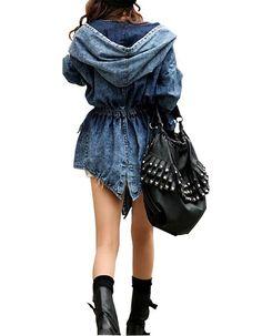 Manteau Cape en Jeans Taille Droite Manche Longue à Capuche