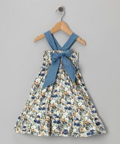 Take a look at this Stone Denim Floral Bow Dress - Toddler & Girls by Lele Vintage on #zulily today!