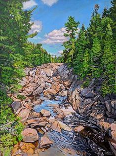 Acrylic on Gallery Canvas Lake Superior Provincial Park Watercolor Landscape, Landscape Paintings, Landscapes, River Trail, San Juan Islands, Acrylic Painting Techniques, Lake Superior, Kayaking, Canoeing