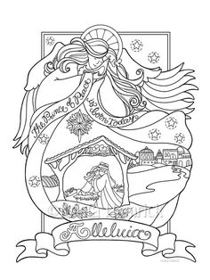 Angel Nativity Coloring Page In Three Sizes 85X11 8X10 Suitable For Framing