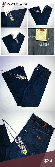 """7 For All Mankind Ginger Wide Leg Trouse Jeans 26 NWOT   1st Quality Item -- 100% Authentic   Seven For All Mankind USA Premium Women's Jeans  """"GINGER"""" -  the widest trousers that 7 FAM offers.   Skim the hips and thigh, loosening to create extra-wide / flare leg.  in """"FTRB"""" - Featherweight Royal Broken Twill - lovely slimming uniformly dark blue wash, super-stretchy """"gummy"""" fabrication, very comfy and very soft.  Clean back pocket design with signature dark blue 7FAM tag.  Oblong red tag on…"""