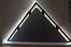 Diy Curtains, Curtains With Blinds, Window Curtains, Window Coverings, Window Treatments, Window Behind Bed, Triangle Window, Restaurant Specials, Chill Room